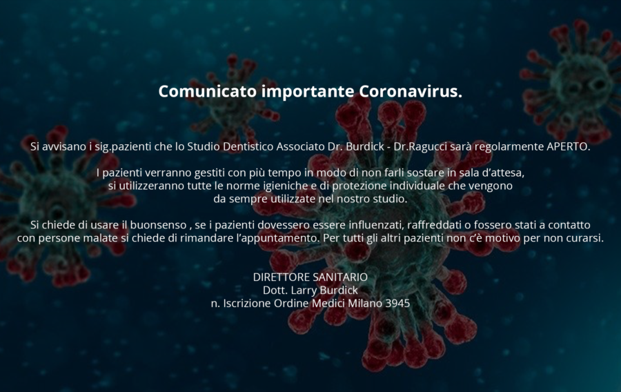 Comunicato importante Coronavirus.